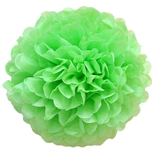 XHCP Set of 5 Pompoms Pom Pom Decorations Colourful Tissue Paper Pompoms Hanging Paper Flower Ball for Wedding Birthday Party Decoration 15cm Green
