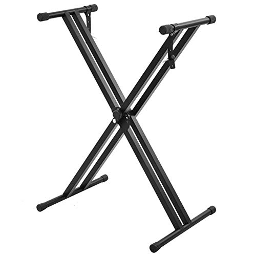 Doubleblack Soporte de Teclado Doble Metal Ajustable 30-97 cm Correas de Bloqueo, Negro