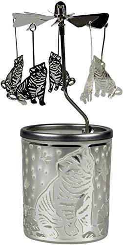 Kerfarm Hahn 84380 - Portacandela a forma di gattino, 16 x 6 x 6 cm, in vetro, colore argento, 6 cm