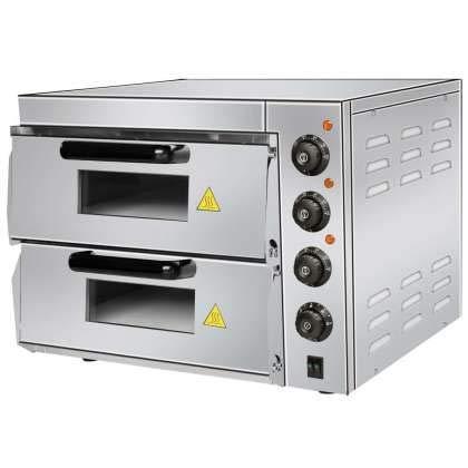 Horno Eléctrico profesional de Pizza Compacto de 560 x570 x440h mm para 2 Pizzas 38 cm PDK40 Línea Estambul.