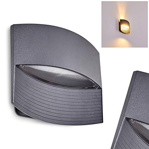 Led-buitenwandlamp Romo van gegoten aluminium antraciet, buitenlamp voor balkon, veranda, oprit, terrassen - wandlamp met leuk lichteffect