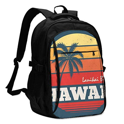 XCNGG Laptop Backpacks Tactical Hawaii Lanikai Beach Tee Print with Palm Tree Office & School Supplies with USB Data Cable and Music Jack Laptop Bags Computer Notebook 18.1X13.3 inch