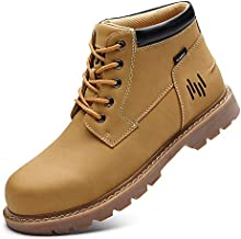 FIVESTORECITY Mens Waterproof Hiking Boots Mid Work Boot Anti-Slip Outdoor Oil Resistant Ankle Casual Shoes Wheat 11.5