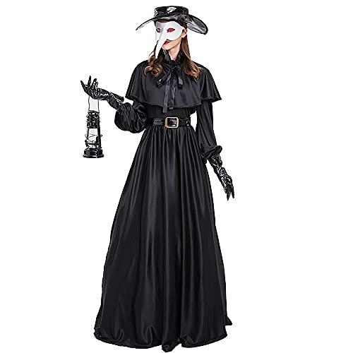 Plague Doctor Halloween Cosplay Disfraz Medieval Steampunk Vestido de fantasía Negro Bata Juego de rol Outift Adulto
