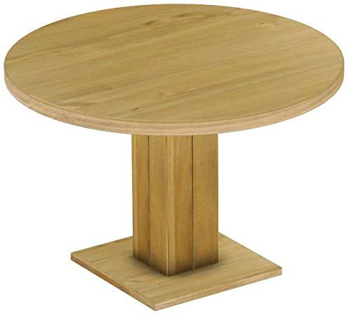 Brasilmöbel Säulentisch Rio UNO Rund 120 cm Brasil Tisch Esstisch Pinie Massivholz Esszimmertisch Holz Küchentisch Echtholz Größe und Farbe wählbar