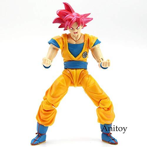 Romantic-Z SHF Dragon Ball Super Saiyan God Son Goku Pelo Rojo Gokou Dragon-Ball PVC Figura de acción Coleccionable Modelo de Juguete 15 cm