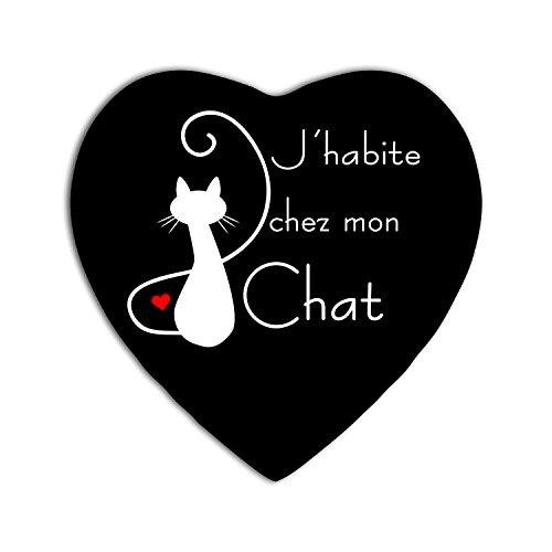 YONACREA - MAGNET COEUR - Jhabite chez mon Chat (NOIR)