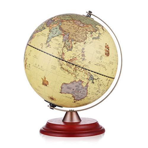 HAOLIN Weltkugel 25cm Antiker Beleuchteter Globus Mit Holzständer Für Heimdekoration Und Bürodesktop