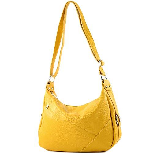 modamoda de -T164 - ital Schultertasche Umhängetasche aus Leder, Farbe:Gelb