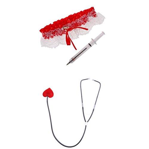 joyMerit Novedad, Accesorios para Disfraz de Enfermera de para Mujer, Liguero Rojo, Corazn, Estetoscopio, Fiesta de Halloween, Cosplay