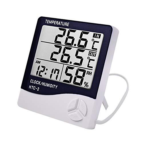 TenYua Wetterstation HTC-2 Innen Außen Thermometer Hygrometer Digital LCD C/F Temperatur Luftfeuchtigkeit Meter Wecker