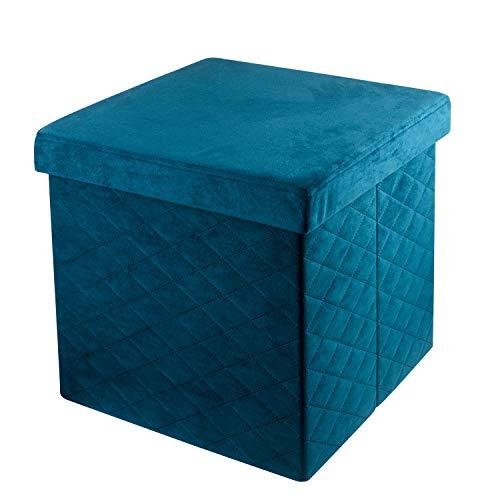Baroni Home Pouf Cubo Poggiapiedi Sgabello Contenitore Pieghevole in Velluto Imbottito Blu Petrolio 38x38x38 cm