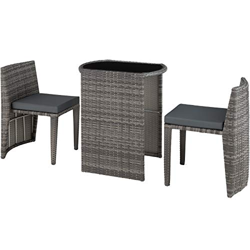 TecTake 800692 Rattan Set Bistro 3 PCs, 2 Chairs + 1 Table, Weatherproof, Collapsible, incl.Seat Cushions, Garden Outdoor Terrace (Grey | No. 403144)