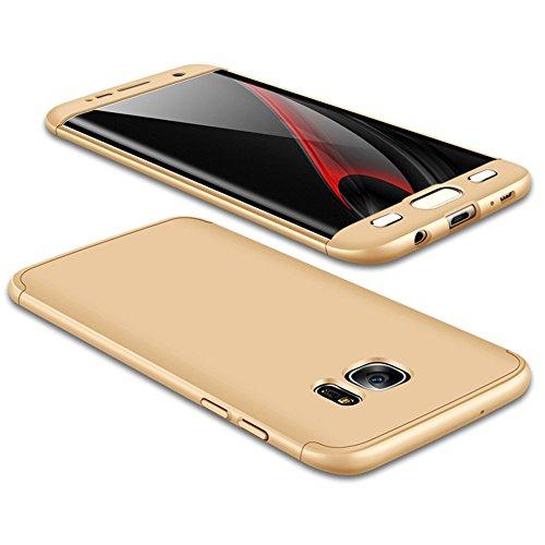 JMGoodstore Funda Galaxy S7 Edge,Carcasa Samsung S7 Edge,Funda 360 Grados Integral para Ambas Caras+Cristal Templado,[ 360°] 3 in 1 Slim Fit Dactilares Protectora Skin Caso Carcasa Cover Oro