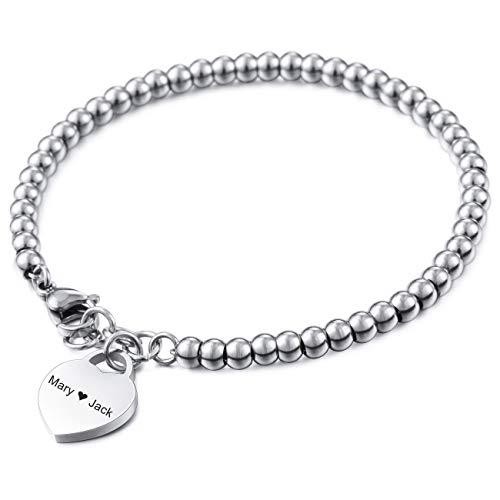 MeMeDIY Personalisierte Armband Gravur Namen Angepasst Für Frauen Mädchen Edelstahl Einstellbare Knöchel Perle Link mit Herz Brautjungfer Geschenke Bester Freund Armbänder (Silber Farbe)