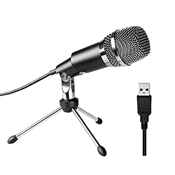 USB Microphone FIFINE Plug and Play Home Studio USB Condenser Microphone for Skype Recordings for YouTube Google Voice Search Games-Windows and Mac-K668