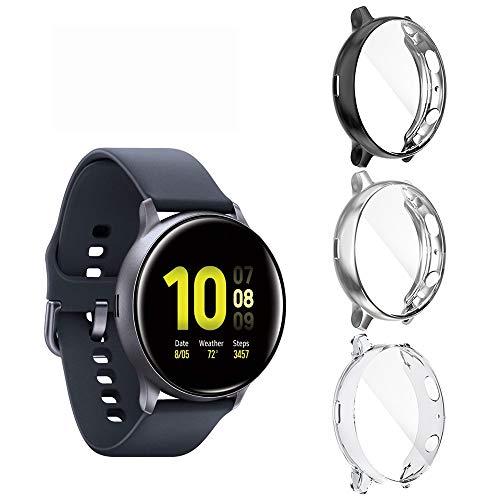 Diruite für Samsung Galaxy Watch Active 2 40mm hülle Schutzhülle(Nicht Active 2 44mm),Soft TPU Slim Stoßfestes Plattierte Bildschirmschutzfolie für Samsung Active 2 Cover- Klar+Silber+Schwarz