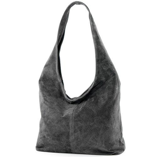 modamoda de - T150 - ital Schultertasche aus Leder Wildleder, Farbe:Dunkelgrau