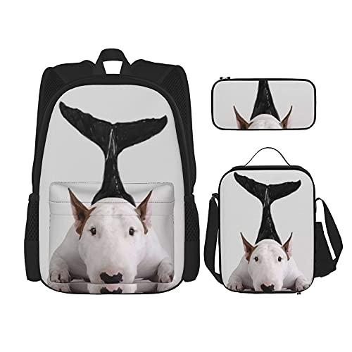 Bull Terrier Zeemeermin Print Rugzak Voor Jongens Tieners Boekentas Reizen Dagrugzak, Lunch Tas En Potlood Case…