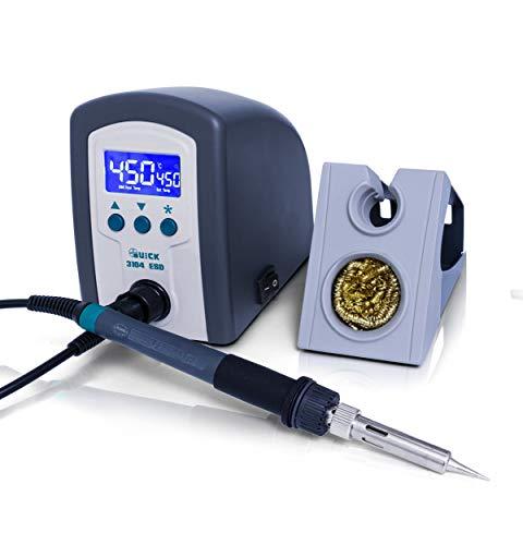 Quick 3104 Digital Regelbare ESD Lötstation inkl. Lötkolben mit 2 mm Lötspitze und Zubehör - 100°- 450°C kalibrierbar - ESD Schutz 80 Watt