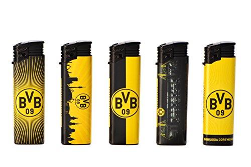 5 x Elektronik FAN Feuerzeug BVB Borussia Dortmund nachfüllbar