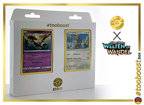 Tandrak (Dragalde) 92/236 & Ursaring 172/236 - #tooboost X Sonne & Mond 12 Welten im Wandel - Doos met 10 Duitse Pokémon-kaarten