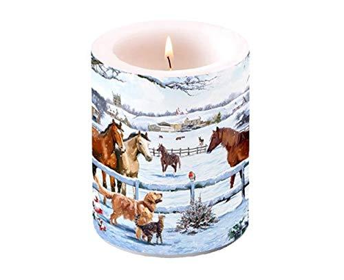 Ambiente Christmas - Candela a colonna da 7,6 cm, altezza 12 cm, motivo: cavalli appuntamento
