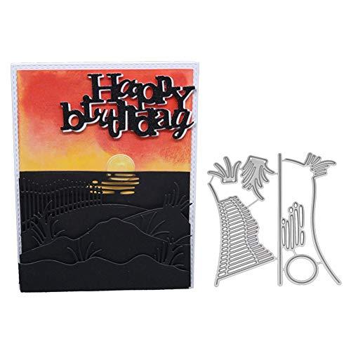 KKYHV Stanzformen Prägen von Metallschneidwerkzeugen Schablonen DIY Scrapbooking Card Album Foto Malvorlage Zaun Gras Stempel und Matrizen