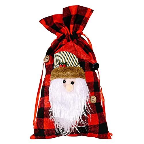 WYDM Navidad Santa Claus Muñeco de Nieve Reno Bolsa de Lona con cordón Decoración navideña para árbol, Chimenea, Vitrina, Bolsa de Dulces, Bolsa de Regalo, decoración de Fiesta de Navidad
