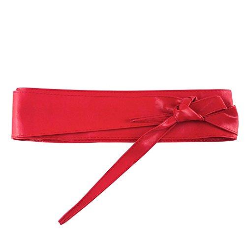 MYB Cintura fusciacca donna in similpelle regolabile - taglia unica - diversi colori disponibili (Rosso)
