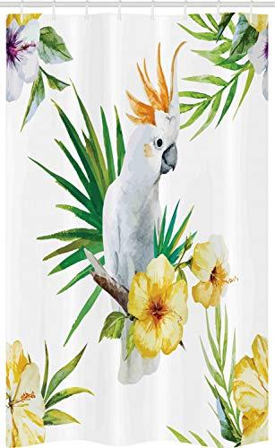ABAKUHAUS Tier Schmaler Duschvorhang, Hibiskus mit Wilden Vögeln, Badezimmer Deko Set aus Stoff mit Haken, 120 x 180 cm, Weiß Gelb Grün
