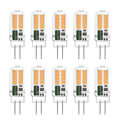 Klighten G4 LED Lampen, 3W 350LM G4 LED Birnen ersetzt 20W Halogenlampen, Nicht Dimmbar G4 LED Leuchtmittel, Kein Flackern, AC/DC 12V, Warmweiß 3000K, 10er Pack