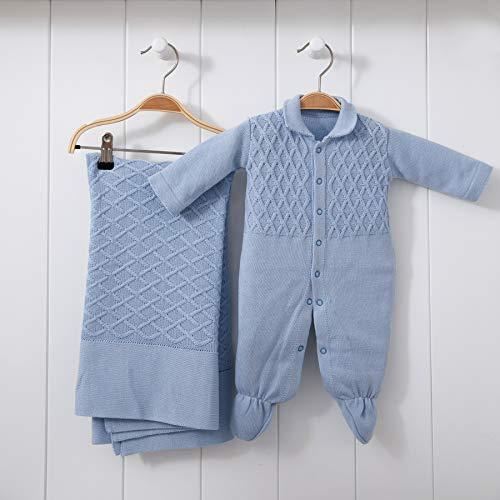 Saída De Maternidade Mami Tricot Modelo Colete Tamanho Rn 02 Peças, Papi Textil, Azul