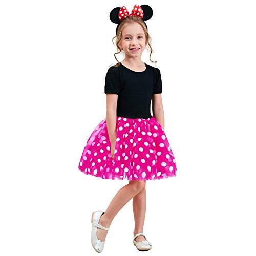NNJXD Vestito da Carnevale per Bambina Tutu di Compleanno per Bambine Taglia(90) 1-2 Anni Rosa