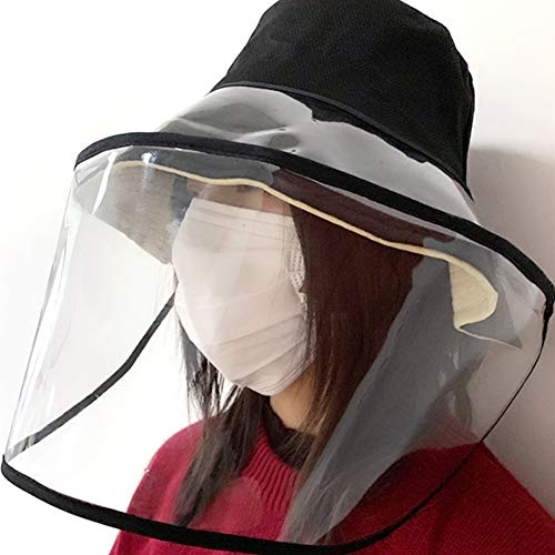 Anti Saliva Fog Protective Hat with Clear Full Face Shield Windproof Dustproof Bucket Hat 2 in 1 Caps for Health Protection