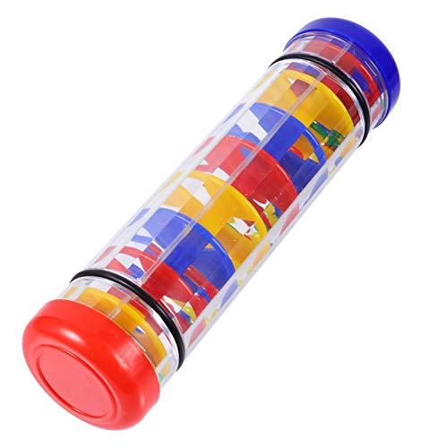 Tomaibaby 8 Pulgadas Rainmaker Palo Instrumento Sonajero Tubo de Lluvia Agitador Instrumento Niños Musical Lluvia Sonido Sonajero Niño Pequeño Juguete de Agarre 20X5cm