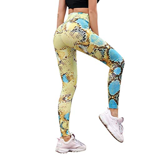 MOTOCO Frauen-Leggings mit Schlangenmuster und hohem Bund und Engen Taillenhosen Größe 38-46(S,Gelb)