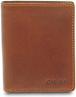 GIUDI ® Portafoglio in pelle vacchetta, vera pelle, Made in Italy (Marrone)