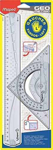 Maped 897118 - Kit de regla zurdos, escuadra y transportador, 3 piezas