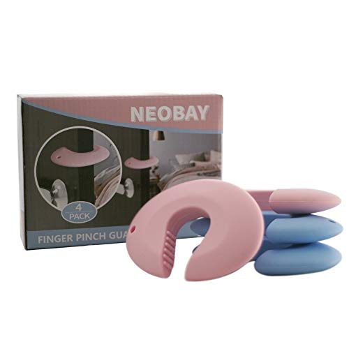 NEOBAY Door Pinch Guard (Pack of 4). Baby Proof Doors Made with Durable Silicone. Prevents Finger Pinch Injuries, Slamming Doors, and Baby or Pet from Getting Locked in Room