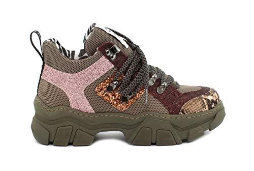 MELINE Sneaker MA 751 Roccia Nocciola-Glit. Vino-F.do Verdone Taglia 40 - Colore Verde Militare