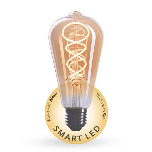 CROWN LED SMART Edison Glühbirne E27 Fassung, Dimmbar, 4W, 2200K, Warmweiß, 230V, EL17, Antike Filament Beleuchtung im Retro Vintage Look - Steuerbar per SMART LIFE/TUYA App für das smarte Zuhause