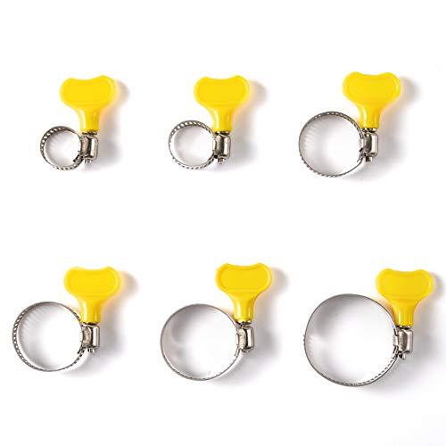 Hongchao mit PP-Box Schlauchschellen Edelstahl Set 10-38 mm | 36Stück| 6 div. Größen | Schlüsseltyp Schlauchklemmen, Rohrschellen Schelle für Waschmaschine, Pool, KFZ Metallschelle
