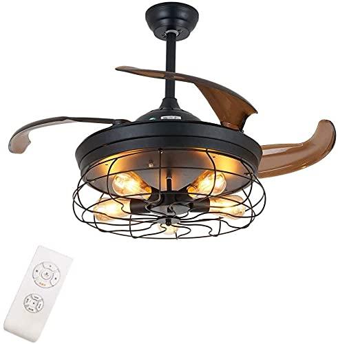 JJSFJH Ventilador de techo industrial con luz, lámpara invisible de 42 pulgadas con cuchillas retráctiles Control remoto Vintage Jaula de metal 5-Luz (Negro)