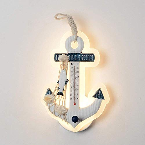 Iluminación de pared ligera para sala de estar. Dormitorio de estilo mediterráneo de la lámpara de la personalidad creativa Termómetro de pared decorativos niños de la lámpara de Casa de escena de dis