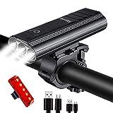Hatonky Rechargeable USB Bike Lights Set, 5200mAh Super Bright 3000 Lumen USB Bicycle