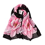 E-Clover Women Soft Floral Print Shawl Chiffon Sheer Scarf (Black&Pink)