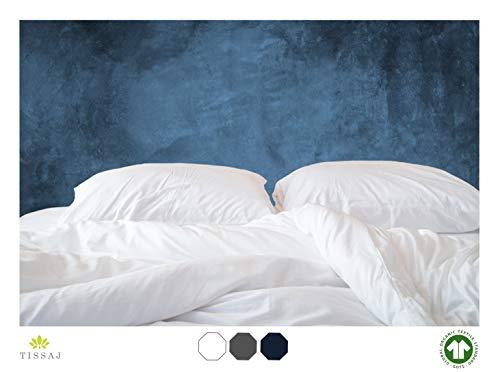 Tissaj Duvet Cover for King & California King Size - Ultra White Color - 100% Organic Cotton - GOTS Certified - 300 TC Thread Count - for Duvet Insert, Down/Alternative Comforter, Weighted Blanket