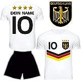 DE FANSHOP Deutschland Trikot Hose mit GRATIS Wunschname Nummer Wappen Typ #DV im EM/WM Weiss - Geschenke für Kinder, Jungen, Baby, Fußball T-Shirt personalisiert