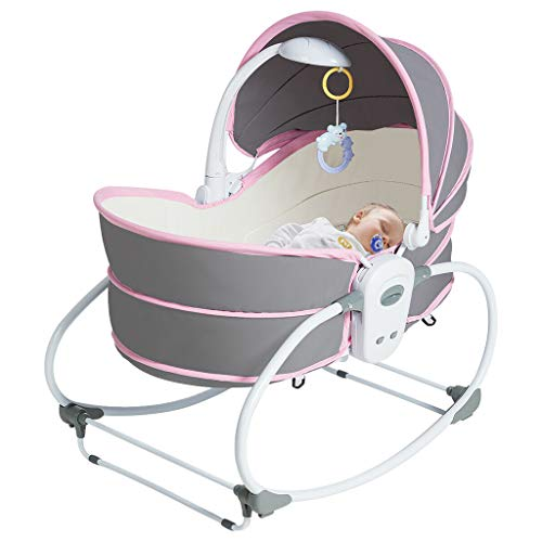 Miskoo 5 in 1 Portable Baby Rocking Bassinet, Adjustable Music Cradle Multi-Functional Crib w/Canopy Music Toys Seat Belt Baby Shaker